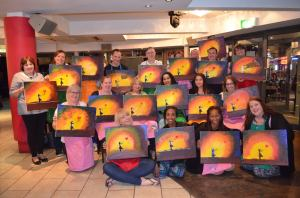 The whole group with our finished paintings