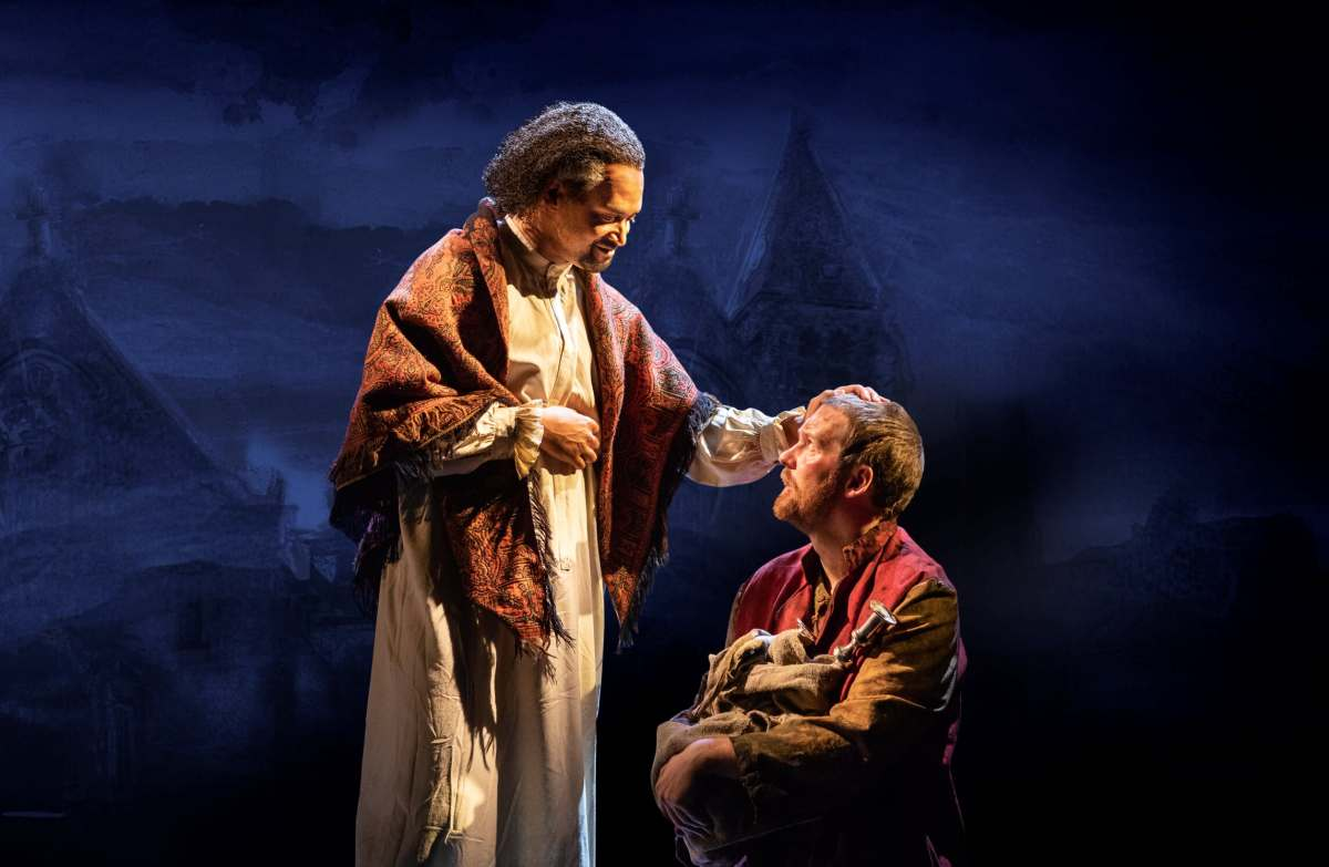 LES MISERABLES TOUR. Brian James Leys 'The Bishop' and Killian Donnelly 'Jean Valjean'. Photo Matthew Murphy.jpg