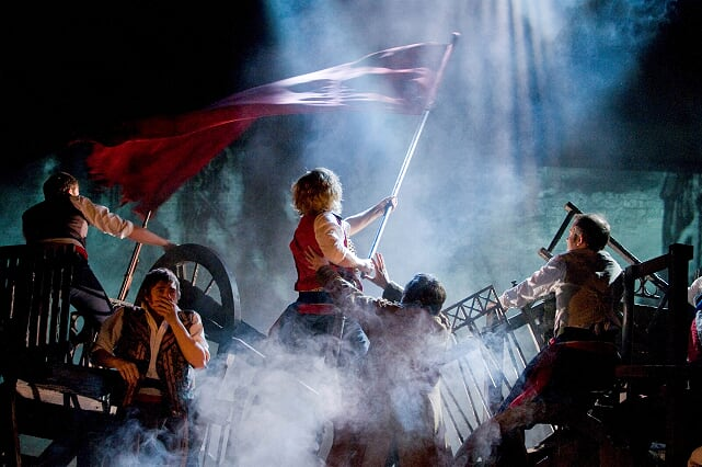 LES MISERABLES. Barricades 2 Photo by Michael Le Poer Trench. Copyright CML